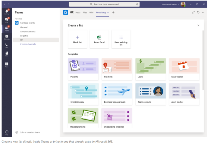Screenshot of Lists in Microsoft Teams.