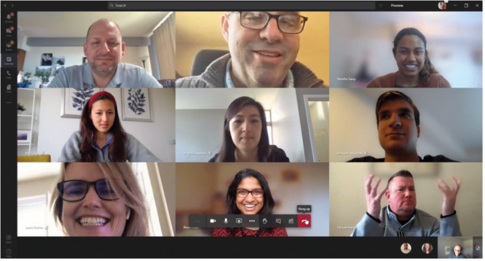 Microsoft Teams Video Meeting with 3 x 3 Grid.