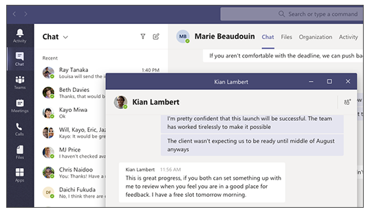 Microsoft Teams Pop Up Chat Window.