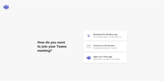 Screenshot of new Join Meetings options in Microsoft Teams.